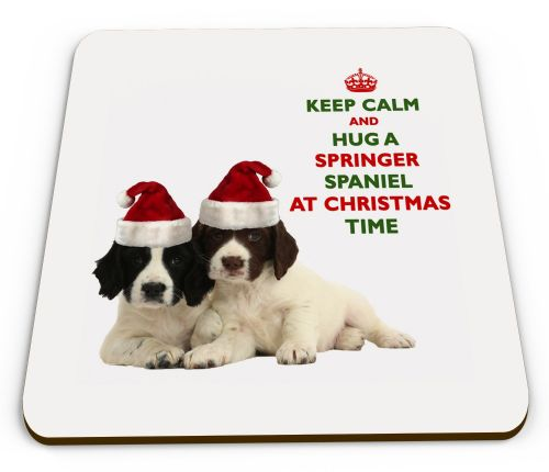Christmas Keep Calm And Hug A Springer Spaniel Novelty Glossy Mug Coaster